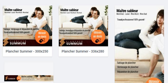 Bannière HTML 5 – Plancher Summum